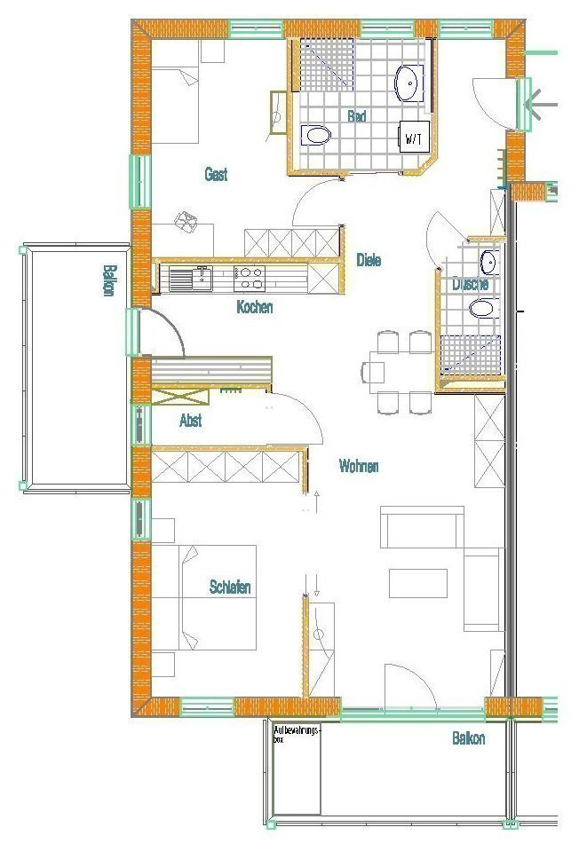 Beispielgrundriss 3-Zimmer-Wohnung