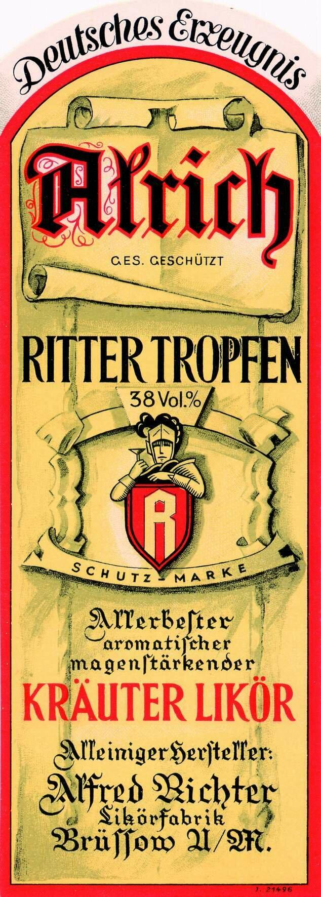 Etikett Alrich Rittertropfen Vorderseite, ©Stephan Becker, Brüssow