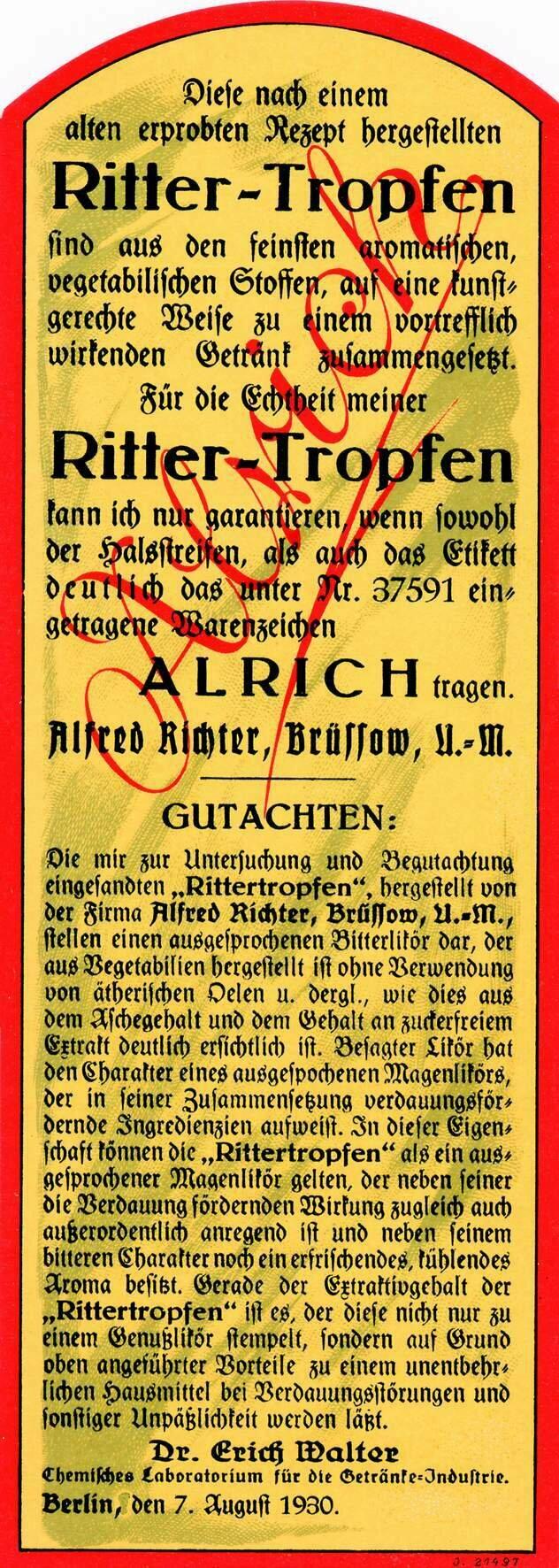Etikett Alrich Rittertropfen Rückseite, ©Stephan Becker, Brüssow