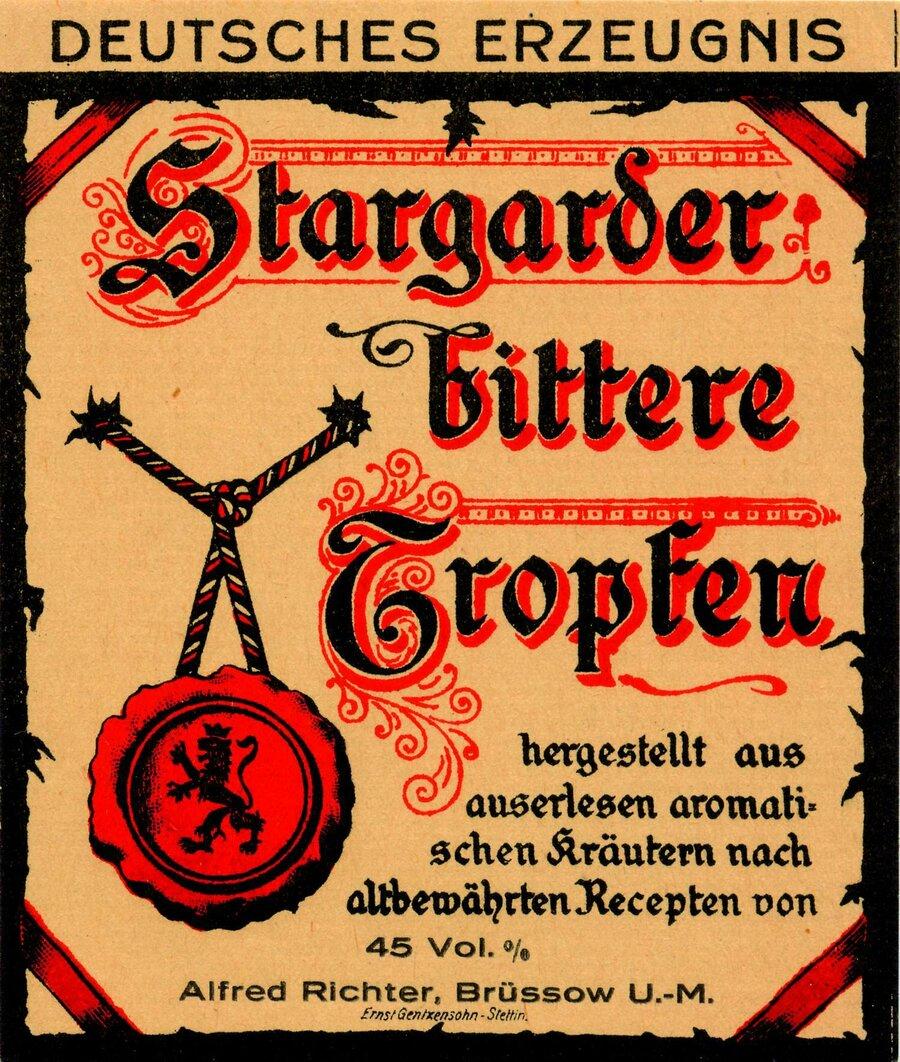 Etikett Alrich Stargrader Bittere Tropfen, ©Stephan Becker, Brüssow