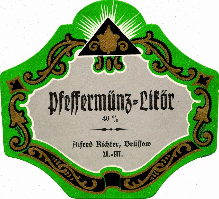 Etikett Pfeffermünzlikör, ©Stephan Becker, Brüssow