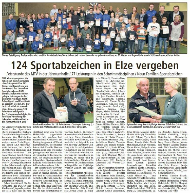 Zeitungsartikel Verleihung 20.01.2017