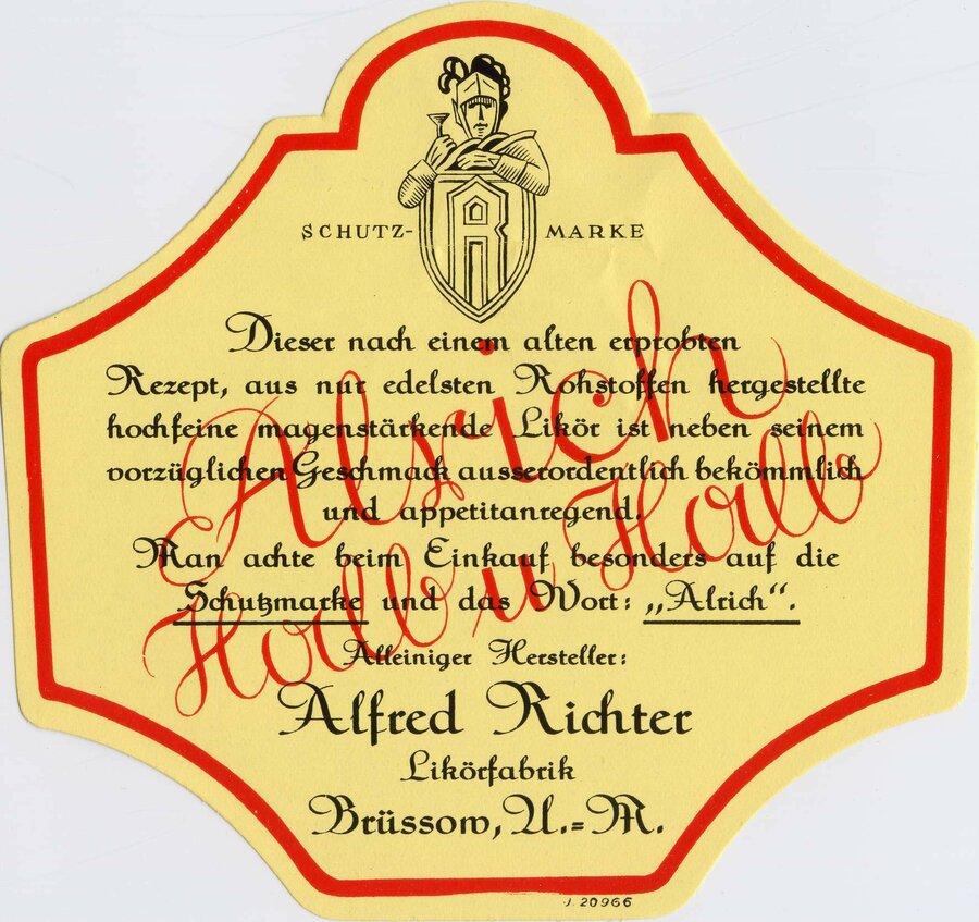 Etikett Alrich Halb & Halb Rückseite, ©Stephan Becker, Brüssow