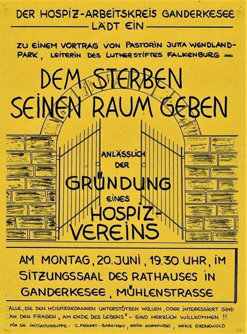 Erste Einladung zum Vortrag des Hospizkreis Ganderkesee e.V.
