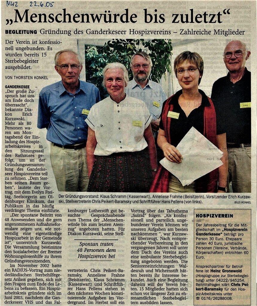 Der erste Vorstand des neu gegründeten Hospizkreises in Ganderkesee