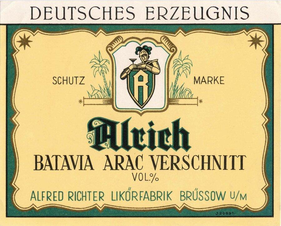 Etikett Batavia Arak Verschnitt, ©Stephan Becker, Brüssow