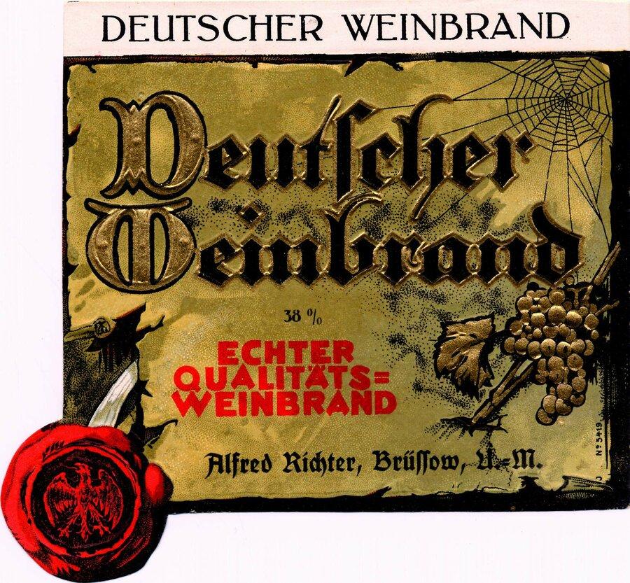 Etikett Deutscher Weinbrand 38%, ©Stephan Becker, Brüssow