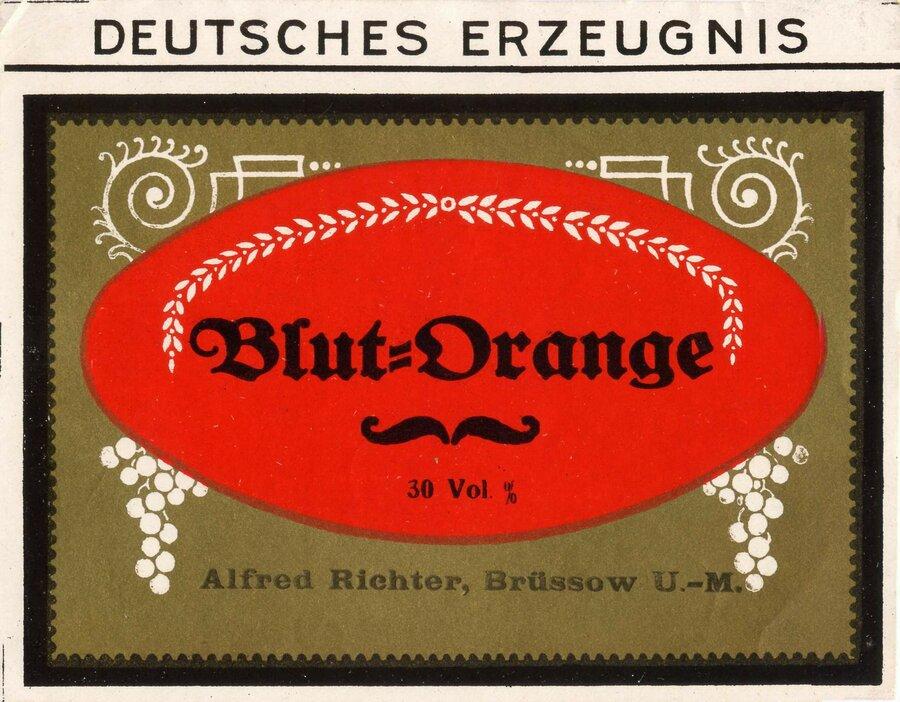 Etikett Blutorangenlikör, ©Stephan Becker, Brüssow