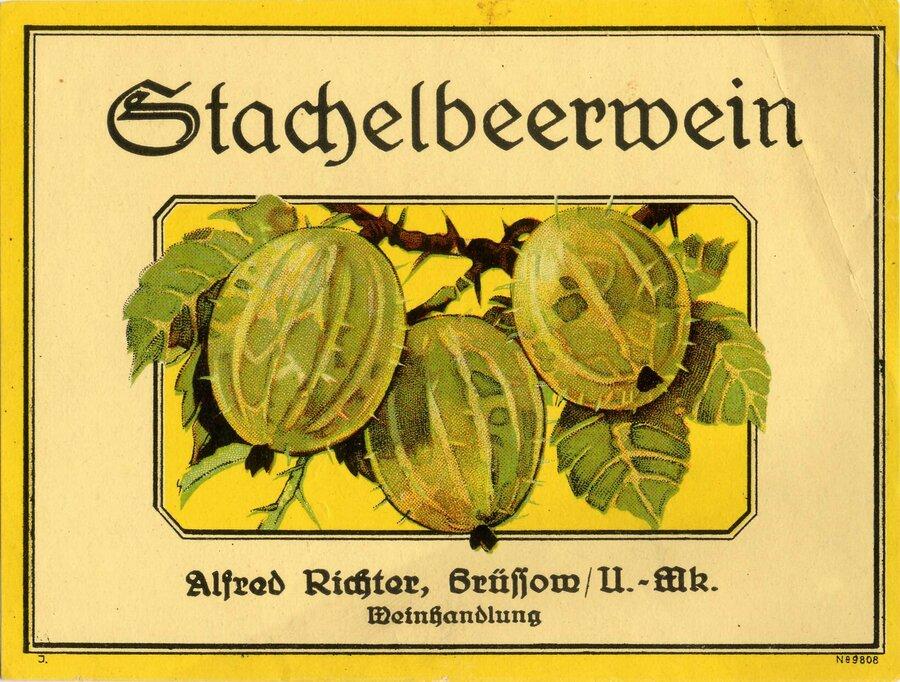Etikett Stachelbeerwein, ©Stephan Becker, Brüssow