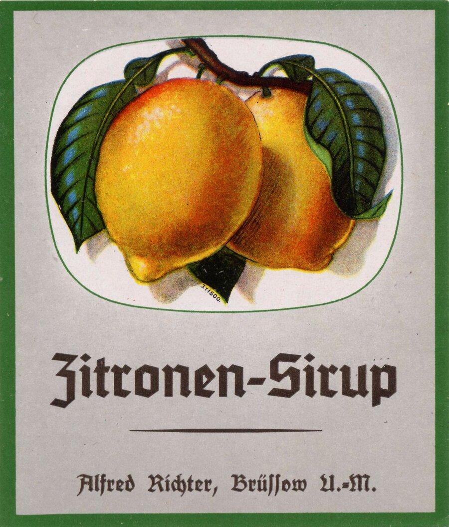 Etikett Zitronen Sirup, ©Stephan Becker, Brüssow