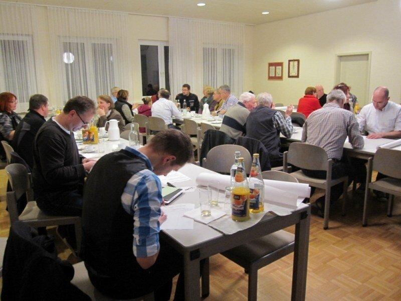 Die Arbeitsgruppen diskutieren die Ziele für die Dorfentwicklung