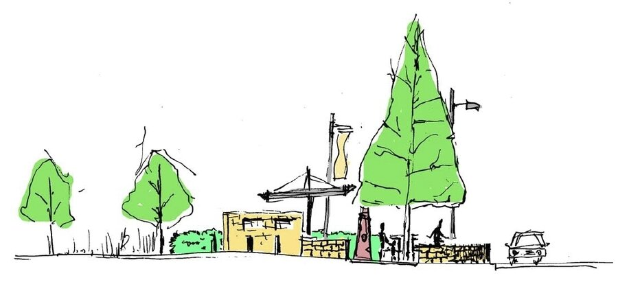 Gestaltungsskizze für den Ramonchamp-Platz