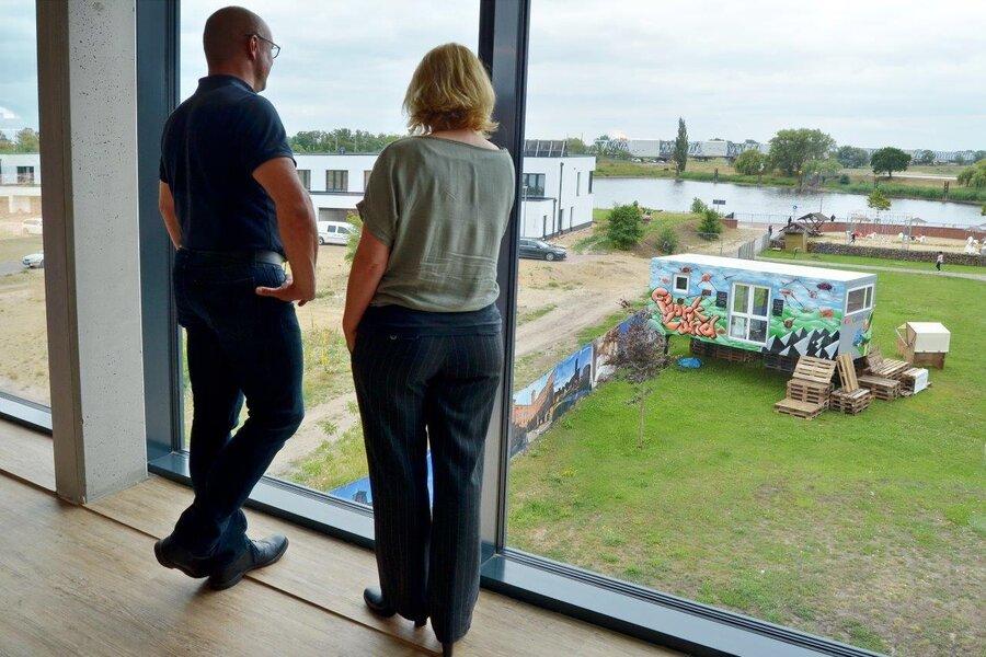 Blick vom Coworking Space auf die Elbe I Foto: Gerhard Baack