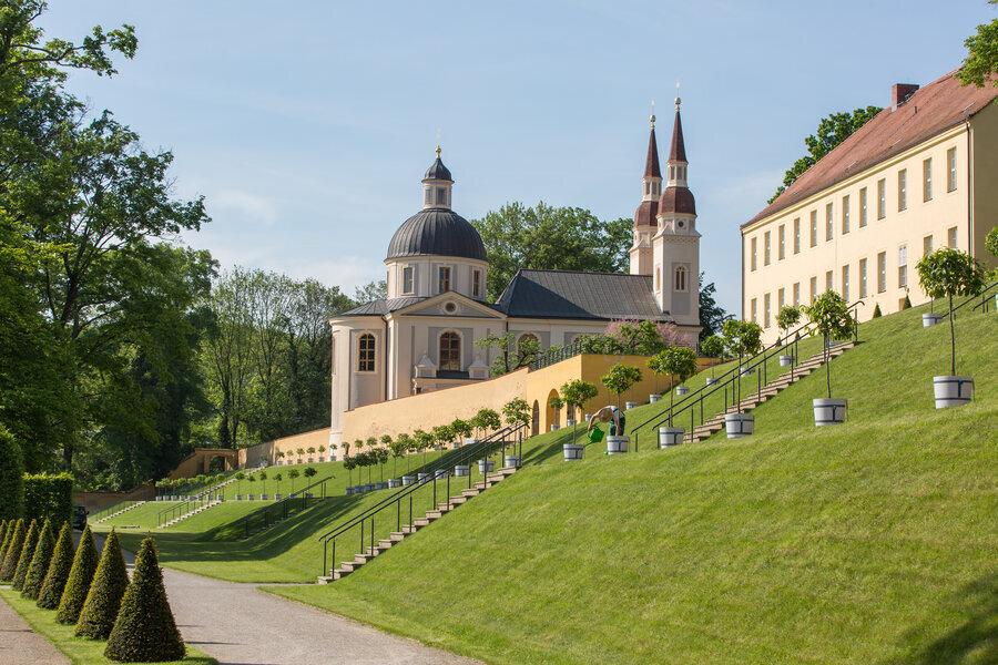Kloster Neuzelle Klostergarten, Barockgarten, evangelische Kirche Parks und Gärten Seenland Oder-Spree, Foto Florian Läufer