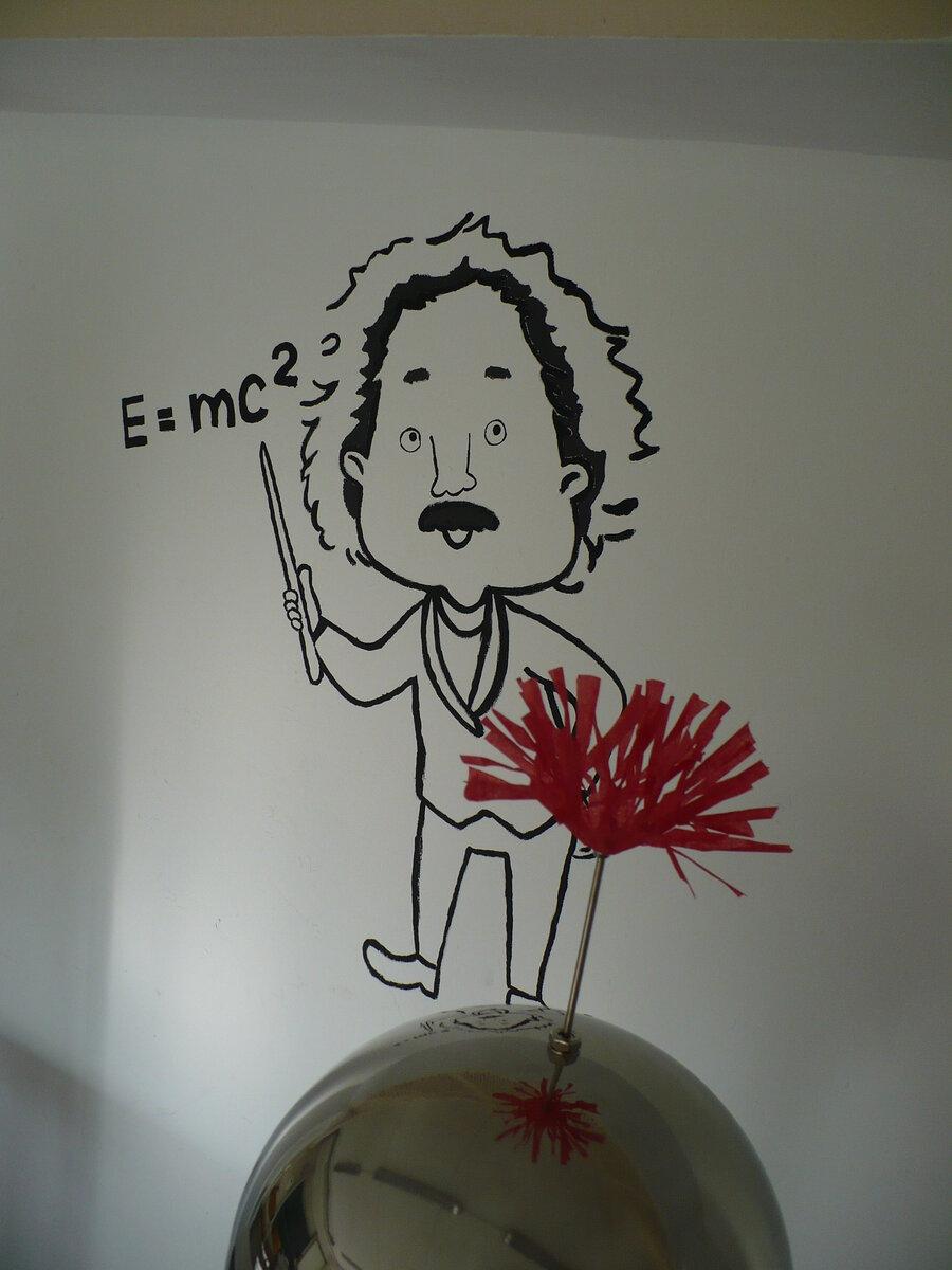 Einstein und seine berühmte Formel.