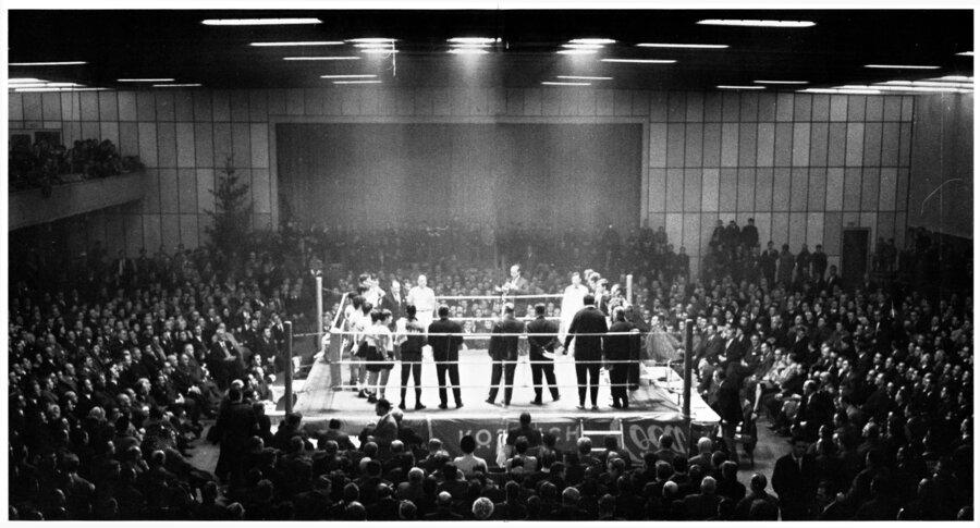 So sah die Niederheinhalle aus, wenn der WBC eine seiner Box-Großveranstaltungen austrug.