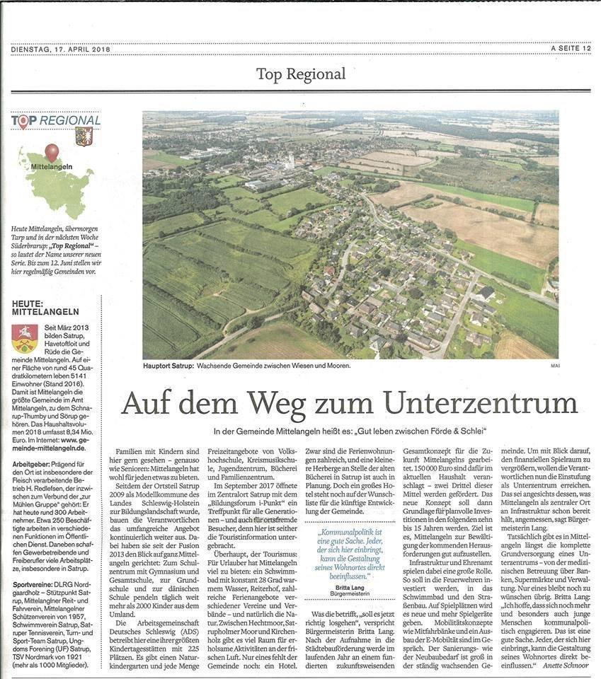 Zeitungsartikel. Auf dem Weg ins Unterzentrum 17.04.2018