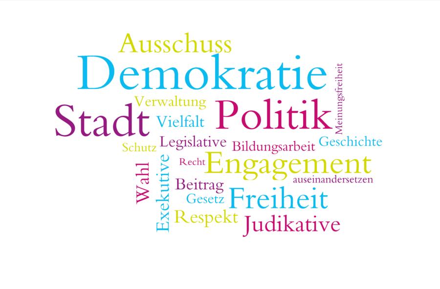 Bildzeigt Wortwolke Demokratie, Foto: pixabay