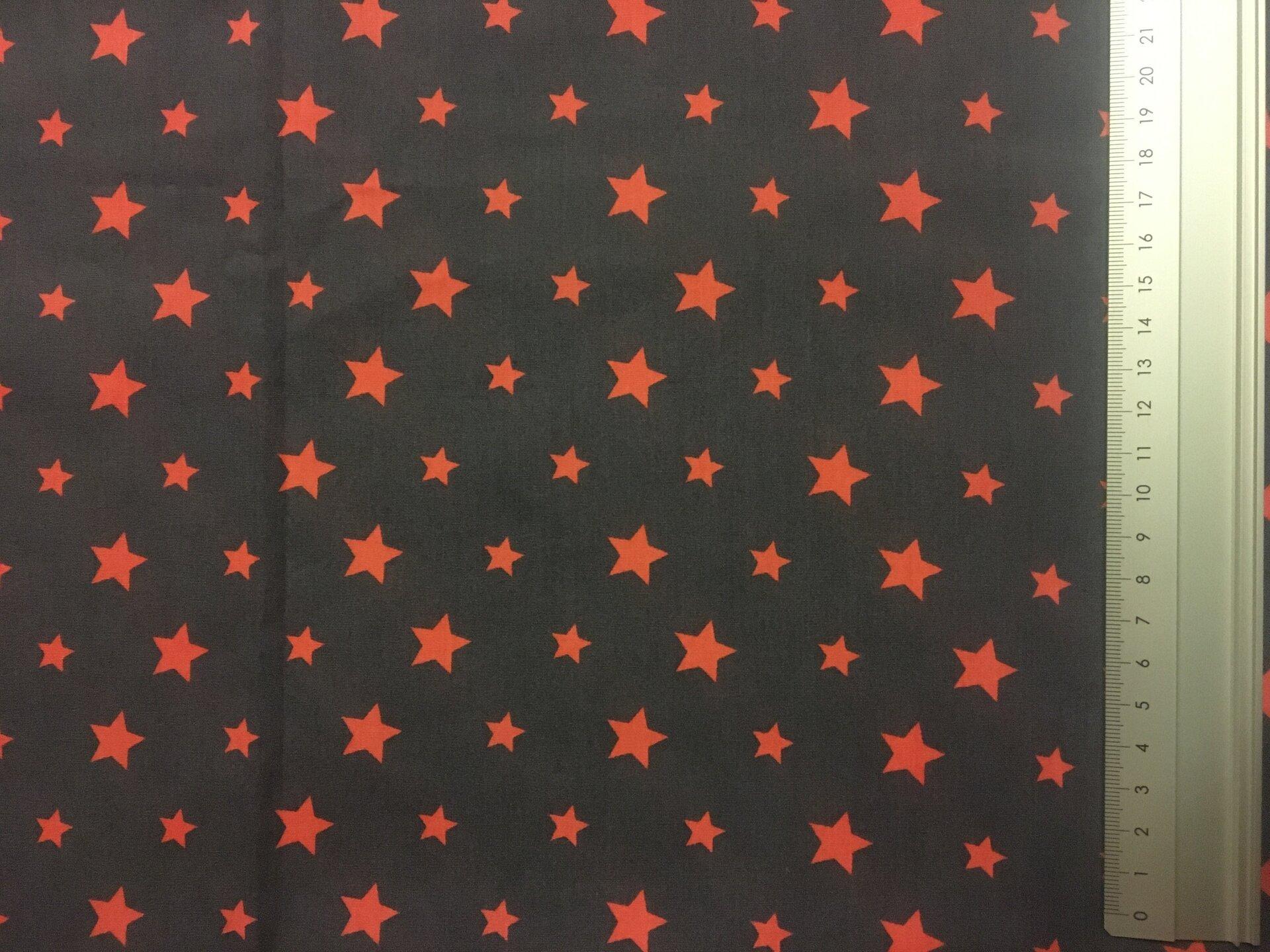 Motiv 1 - anthrazit mit orangen Sternen