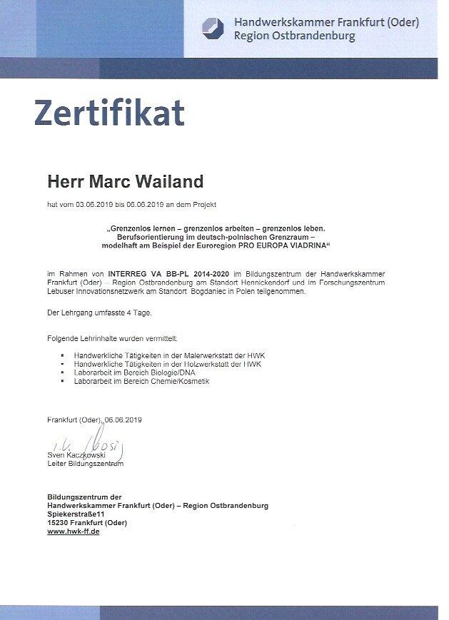 Zertifikat Schüleraustausch
