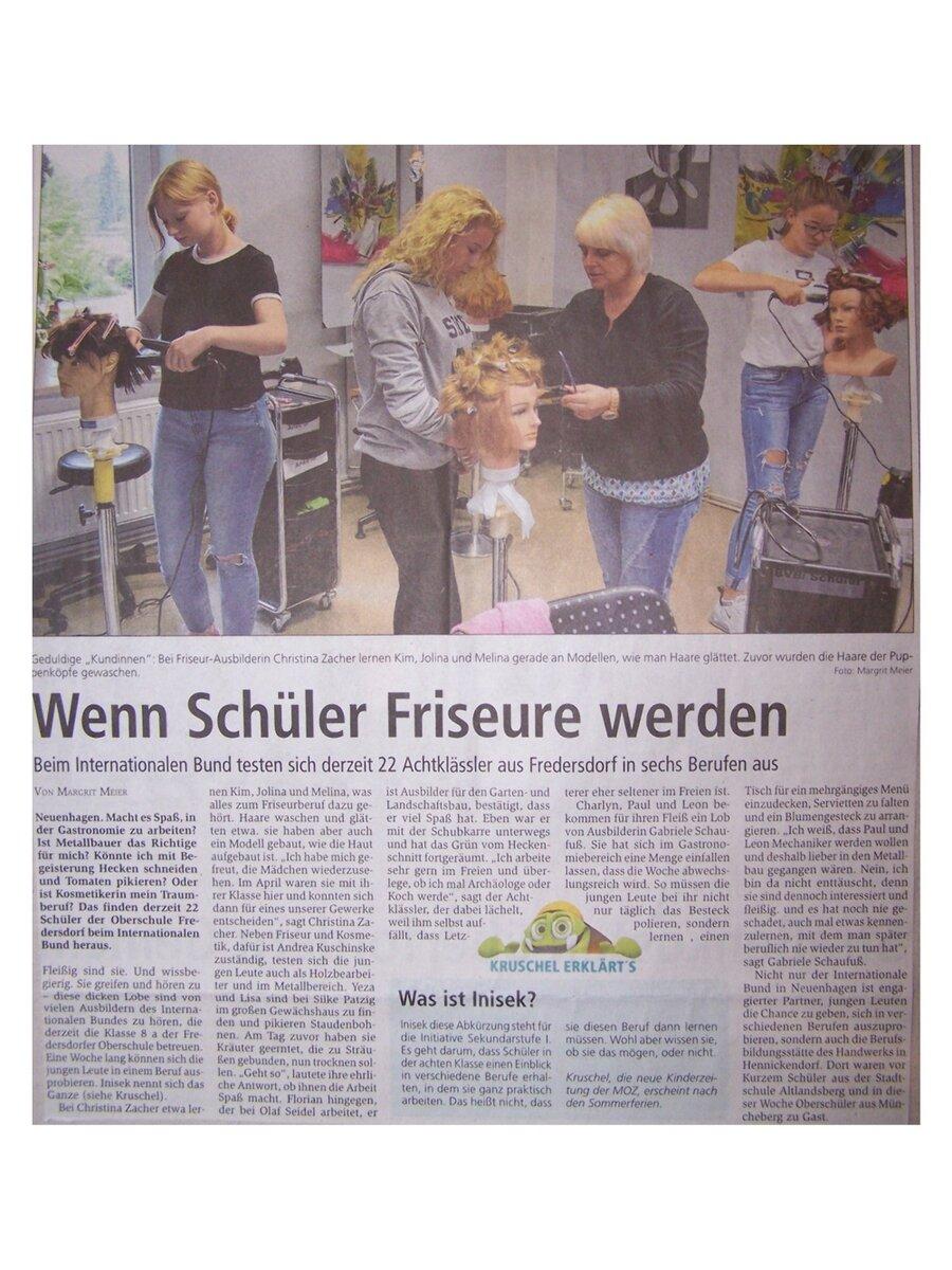 Zeitungsartikel Wenn Schüler Friseure werden
