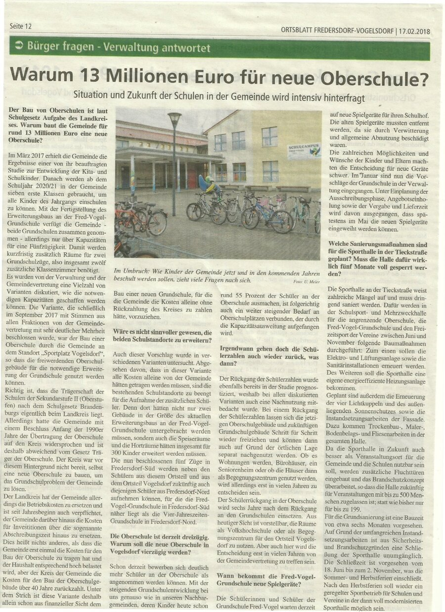 Zeitungsartikel Schule neugestalten