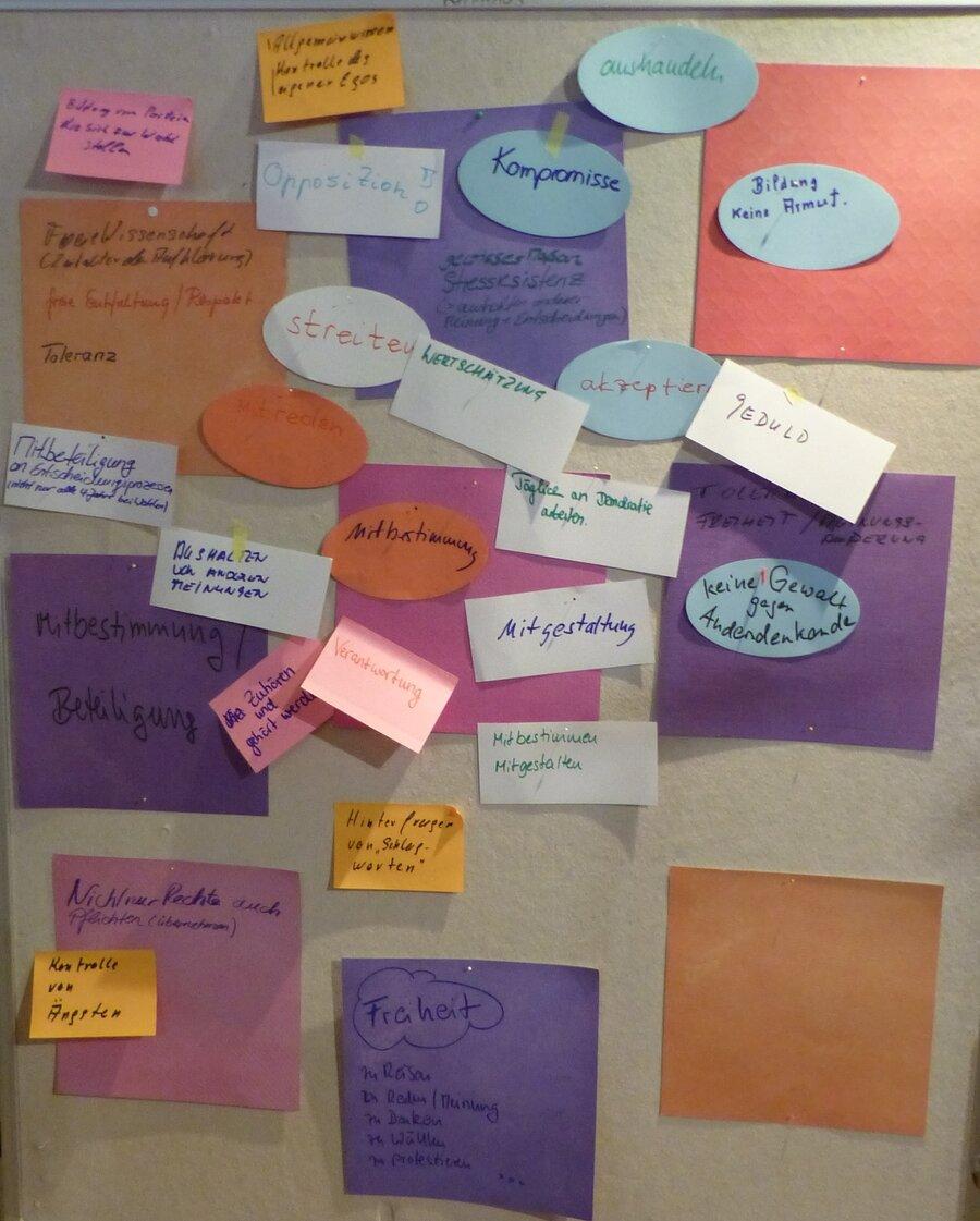 Bild zeigt Moderationswand des Workshops, Foto: Maintal Aktiv - Freiwilligenagentur