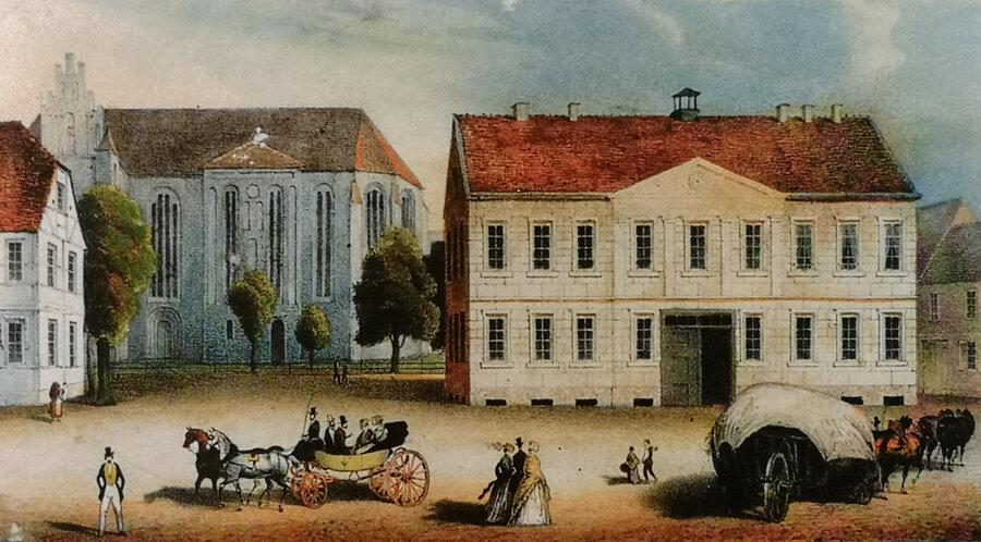 Rathaus_um_1840_ohne_Seitenfl_gel_-_Kirche_ohne_Turm_quelle_illustrierte_geschichte_pritzwalks_1_von_1_