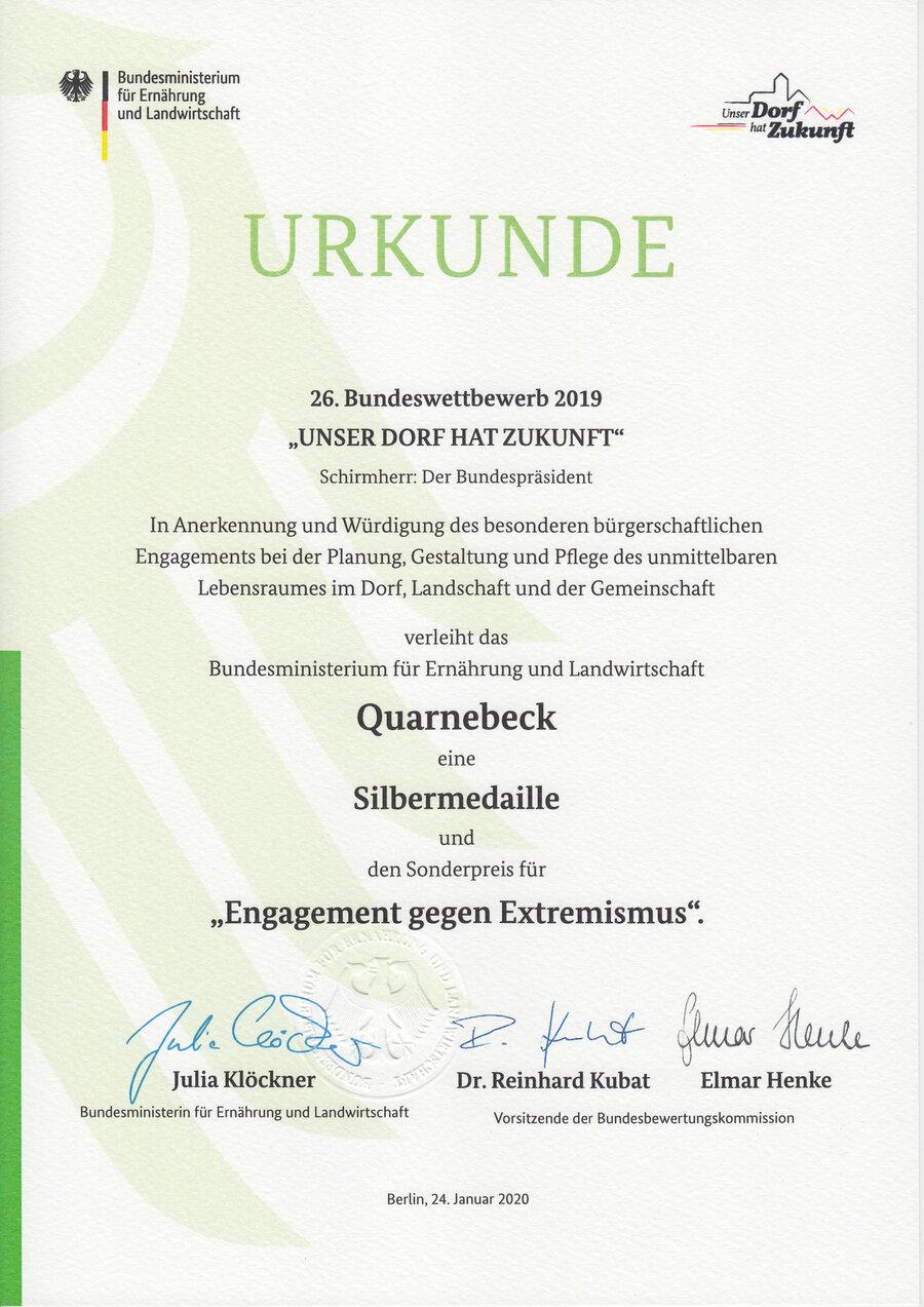 "Urkunde ""UDhZ"" Quarnebeck 26. Bundeswettbewerb"