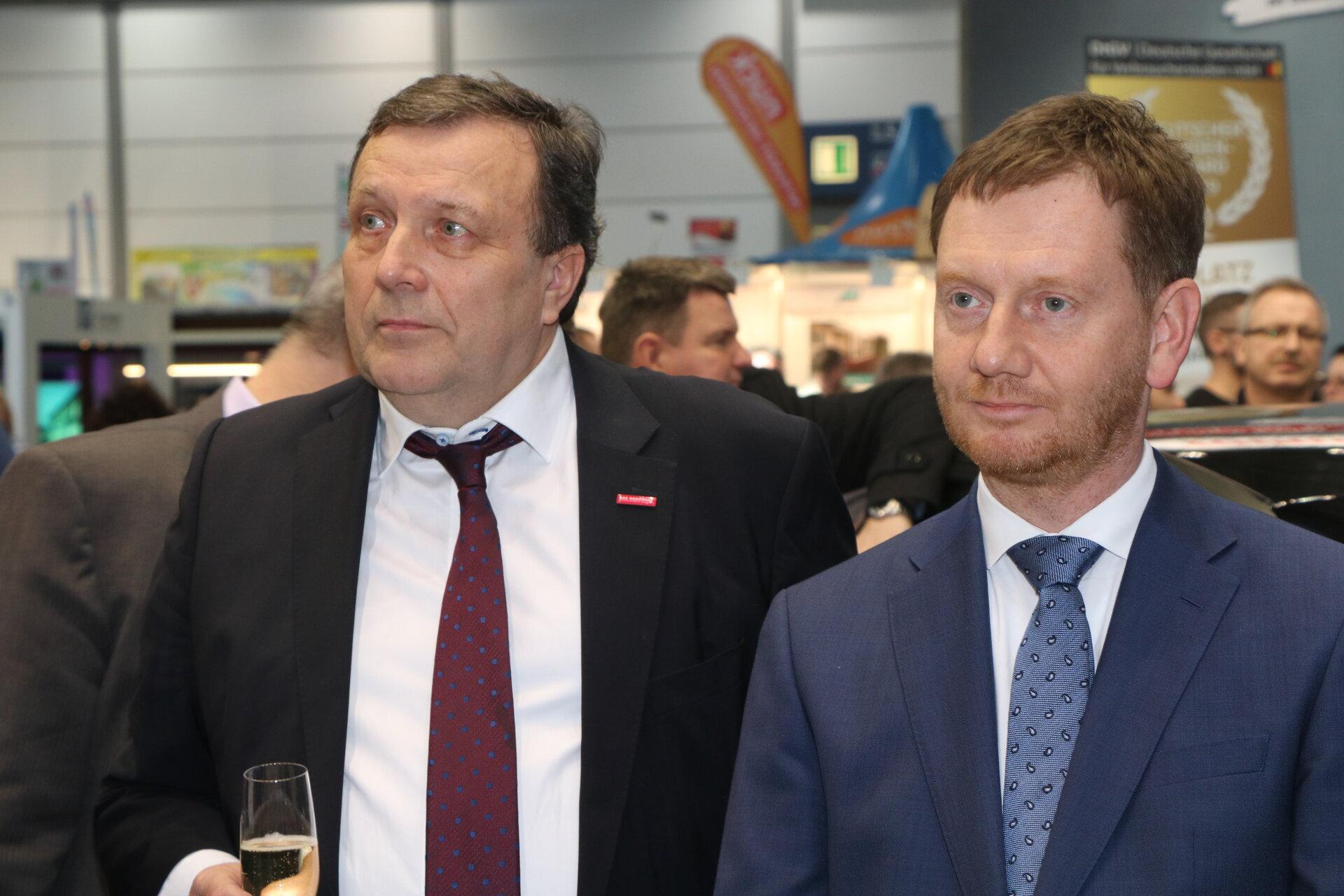 Ministerpräsident Kretschmer mit Kammerpräsident Gröhn