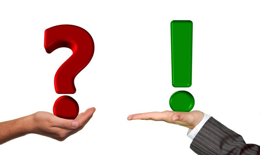 Bild: Zeigt ein Fragezeichen und ein Ausrufezeichen.