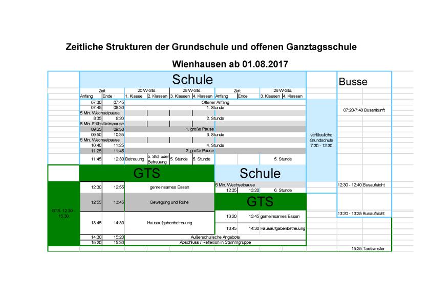Stundenraster GS Wienhausen