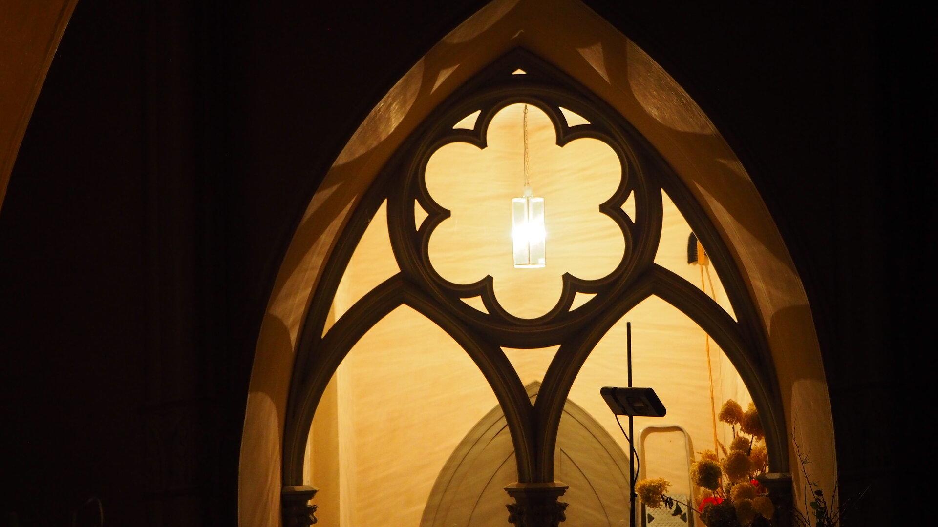 Neue Leuchte in der Sakristei, foto: S. Weber