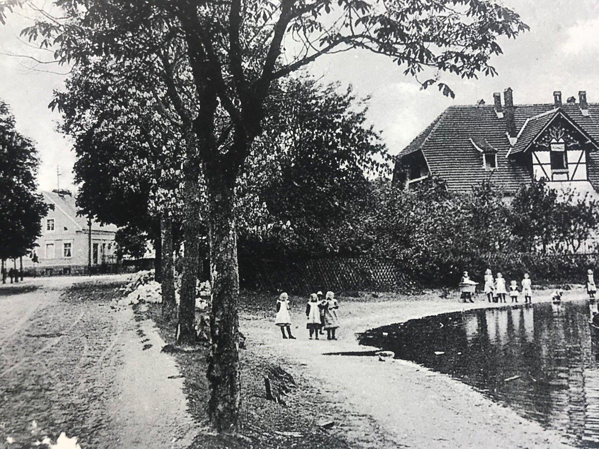 Unser Bild zeigt den Falkenhagener Anger mit Dorfteich. Dieser hatte im Jahr 1910 genügend Wasser, so dass zur Belustigung der Dorfjugend acuh Kahnfahrten möglich waren (Quelle: Museum und Galerie Falkensee).
