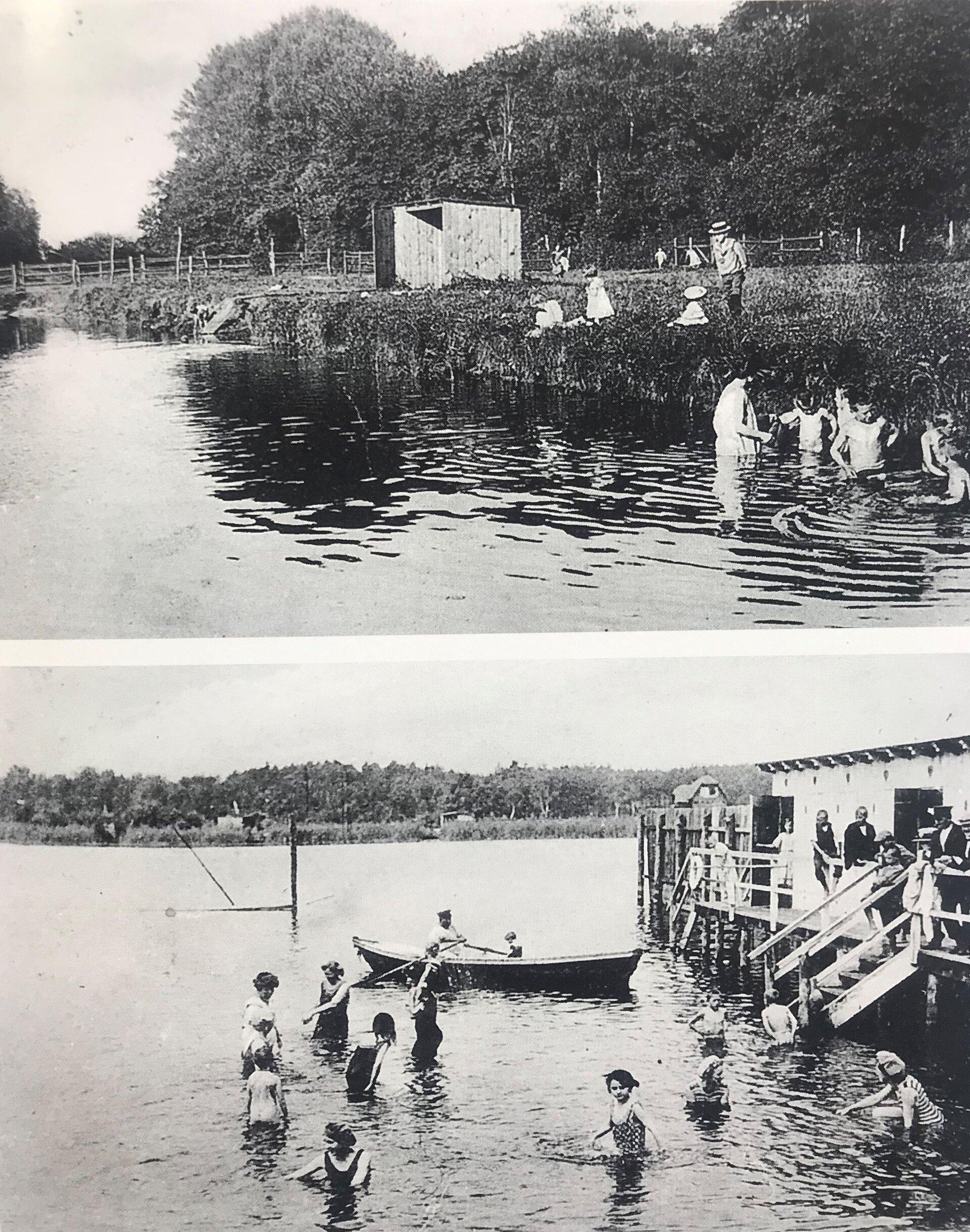 Das obere Foto zeigt den Lindenweiher in Finkenkrug, das untere die beliebte Badeanstalt in der Seepromenade (Quelle Museum und Galerie Falkensee) am Falkenhagener See.