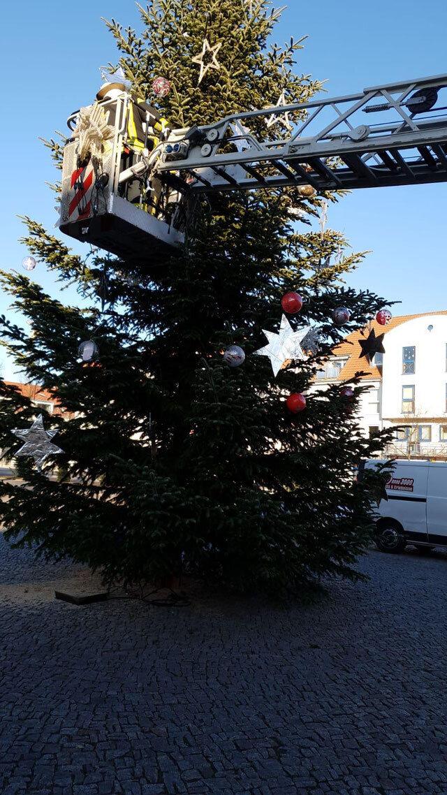 Unterstützung beim Schmücken des Seelower Weihnachtsbaums