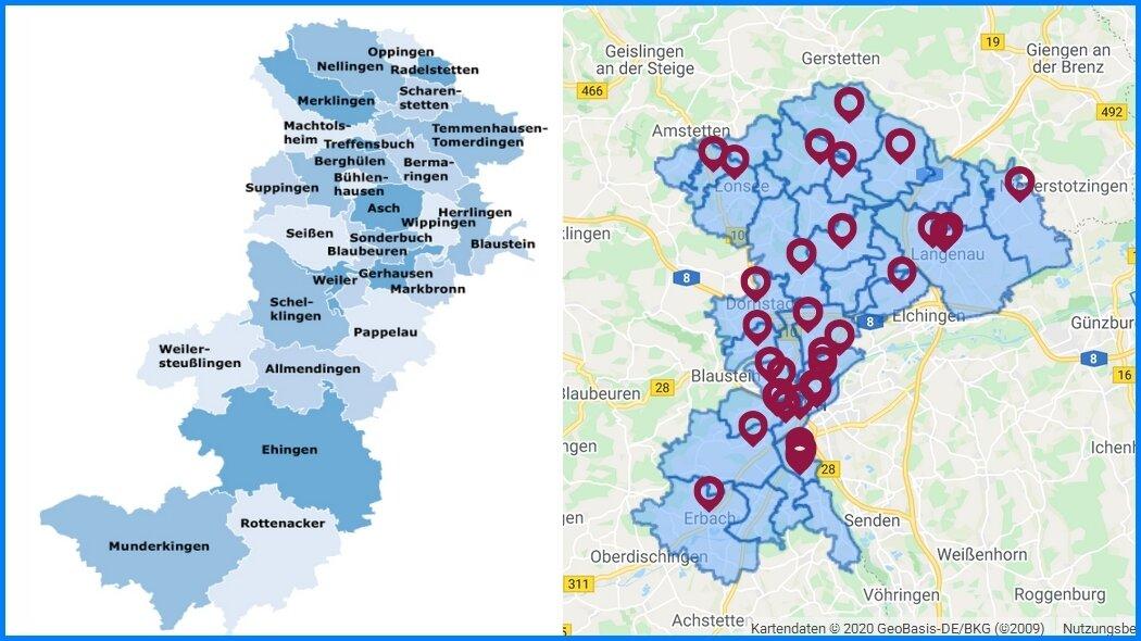 Bezirke Ulm und Blaubeuren