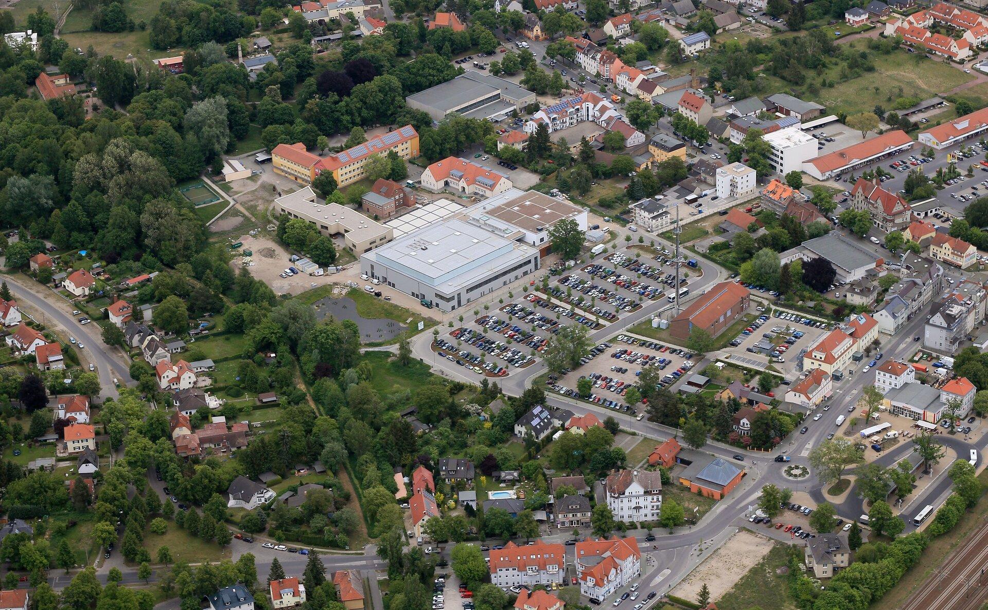 Luftaufnahme des Zentrums von Falkensee
