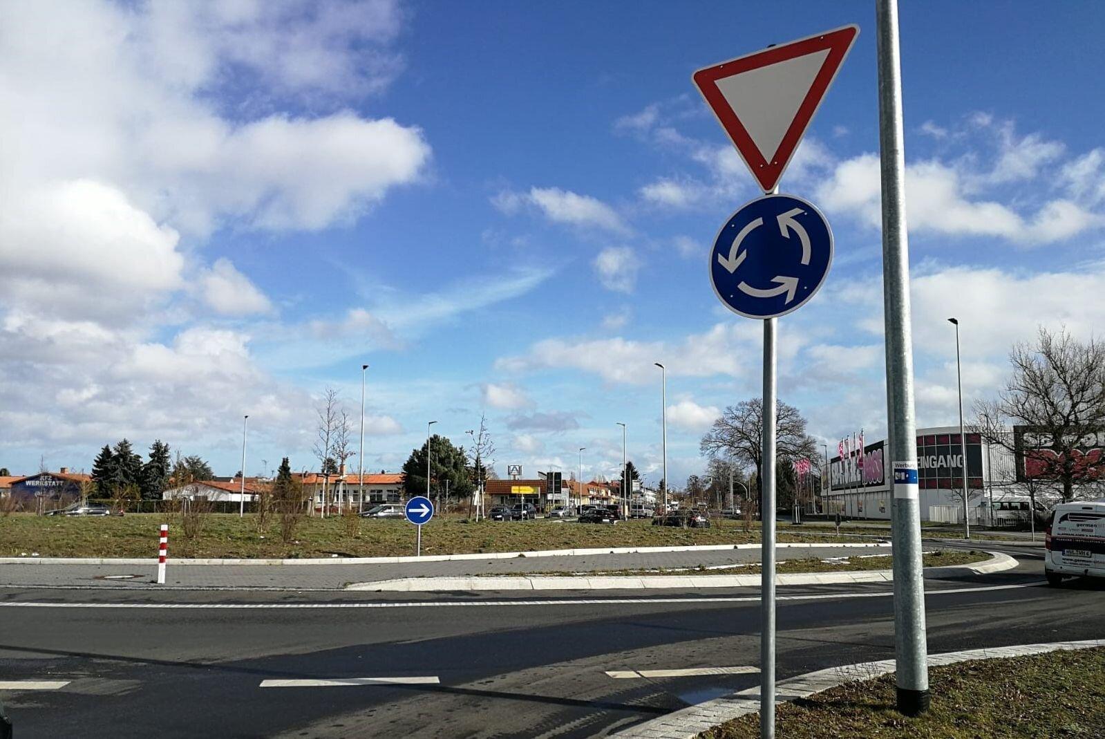 Der Kreisverkehr in der Spandauer Straße