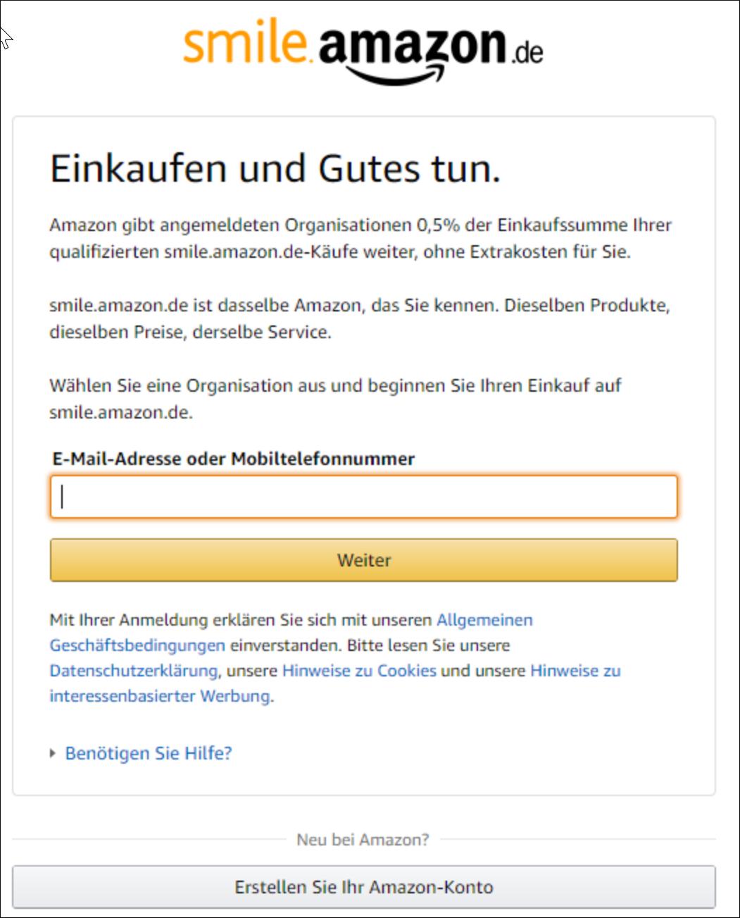 Schritt 1: E-Mail-Adresse eingeben