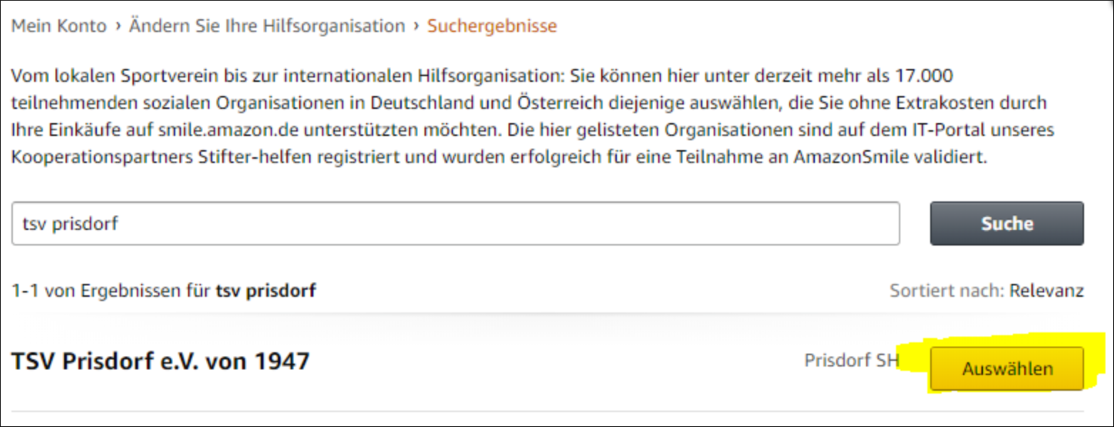 Schritt 4: TSV Prisdorf auswählen