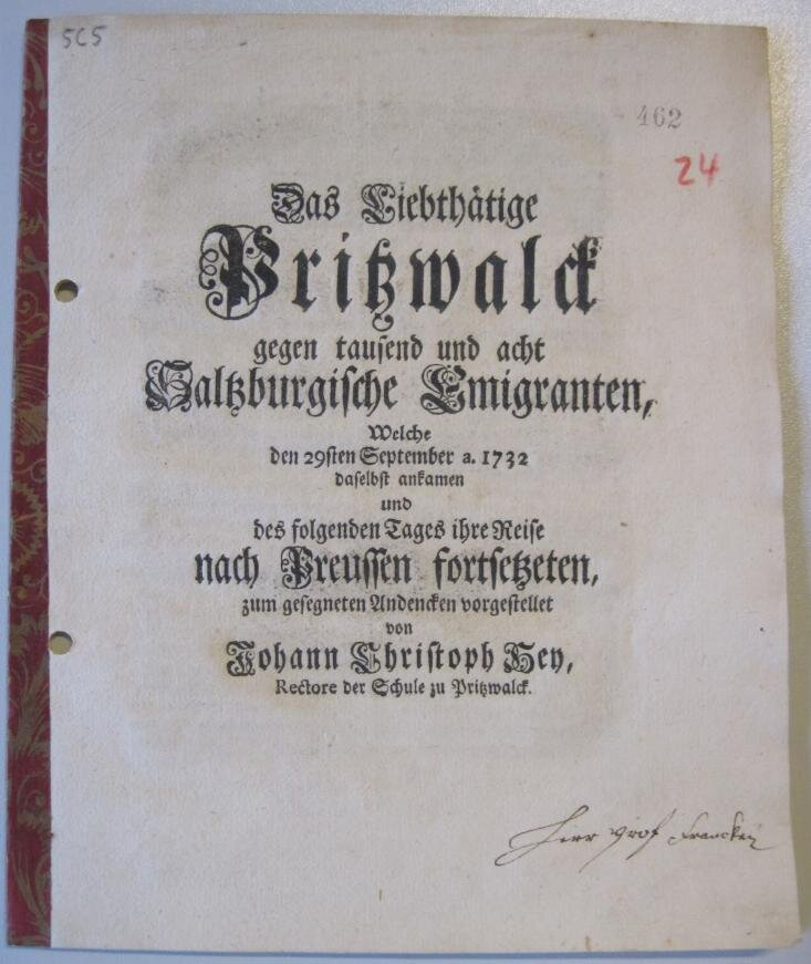 Bericht des Pritzwalker Schulrektors Hey, 1732