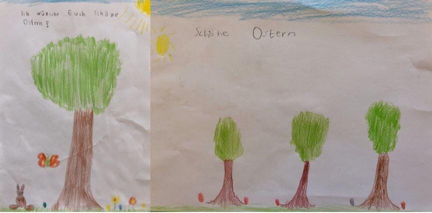 Bild zeigt gemalte Frühlingsbilder von Kindern