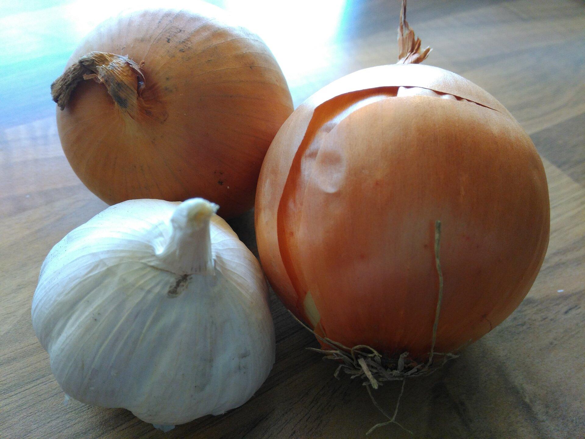 Bild zeigt Knoblauch und Zwiebeln