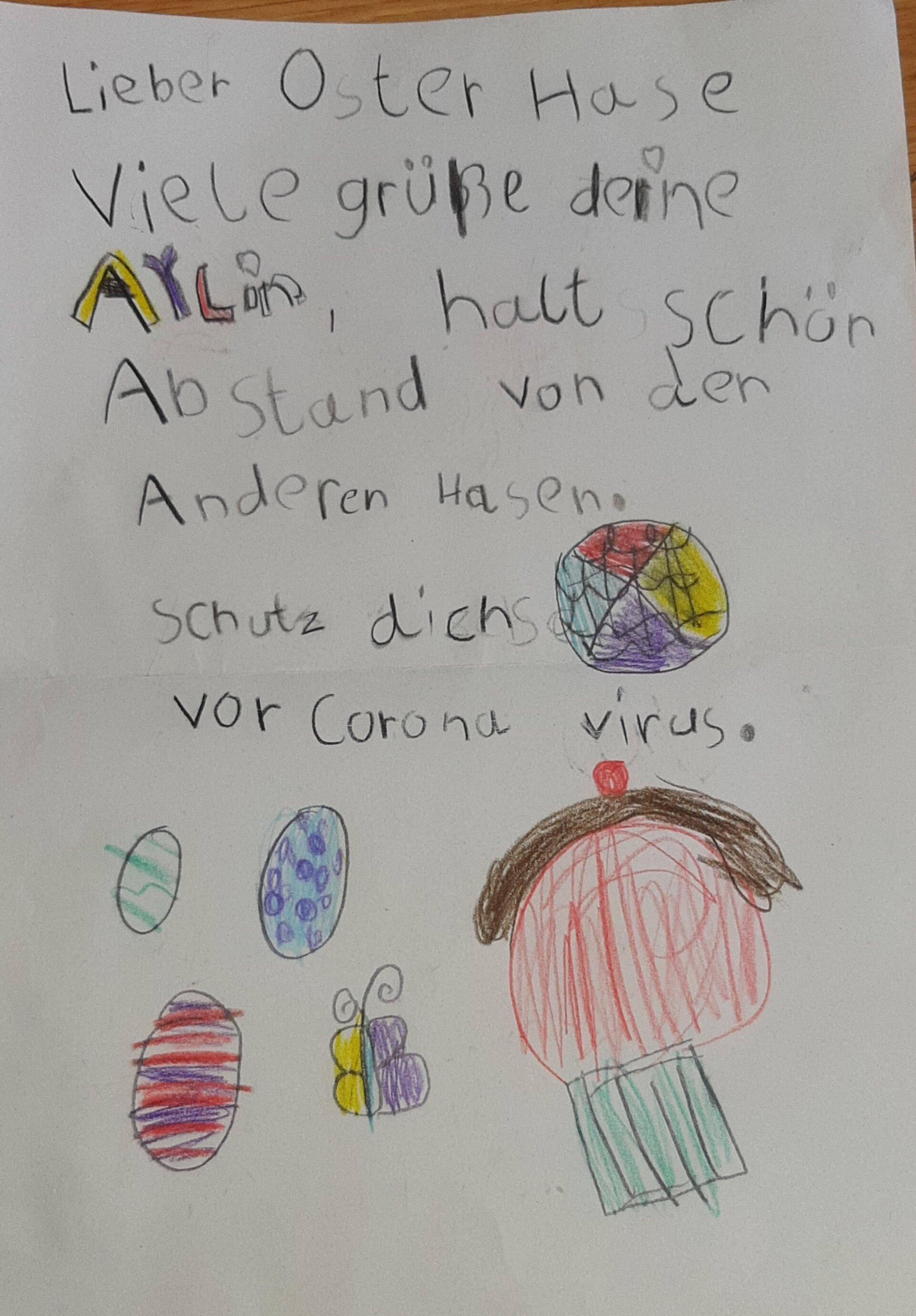 Bild zeigt einen Brief an den Osterhasen von einem 7jährigen Mädchen