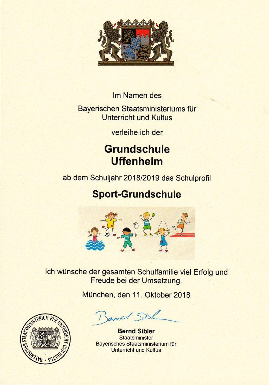 Urkunde Sport-Grundschule