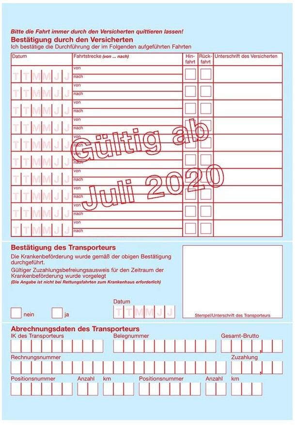 Rollstuhltransporte Dirs - Transportschein 2020 - Rückseite