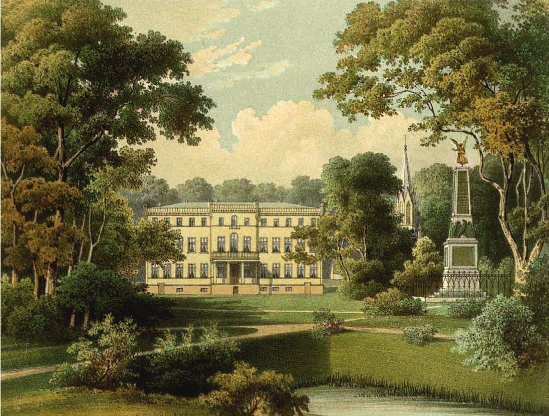 Blick von Süden auf das Herrenhaus Tamsel mit Kirche und Friedrichsdenkmal, um 1863/64