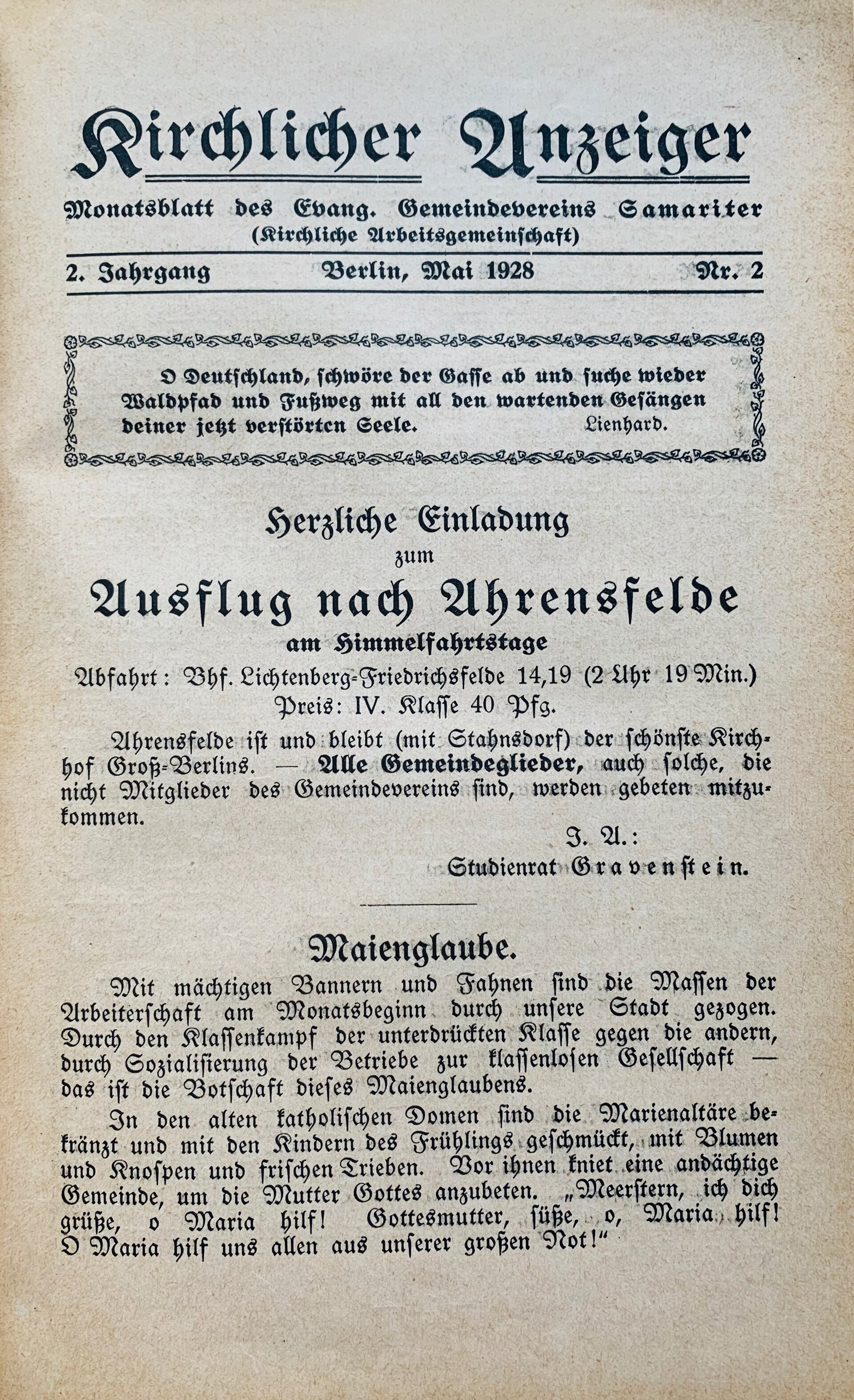 Kirchlicher Anzeiger, Mai 1928