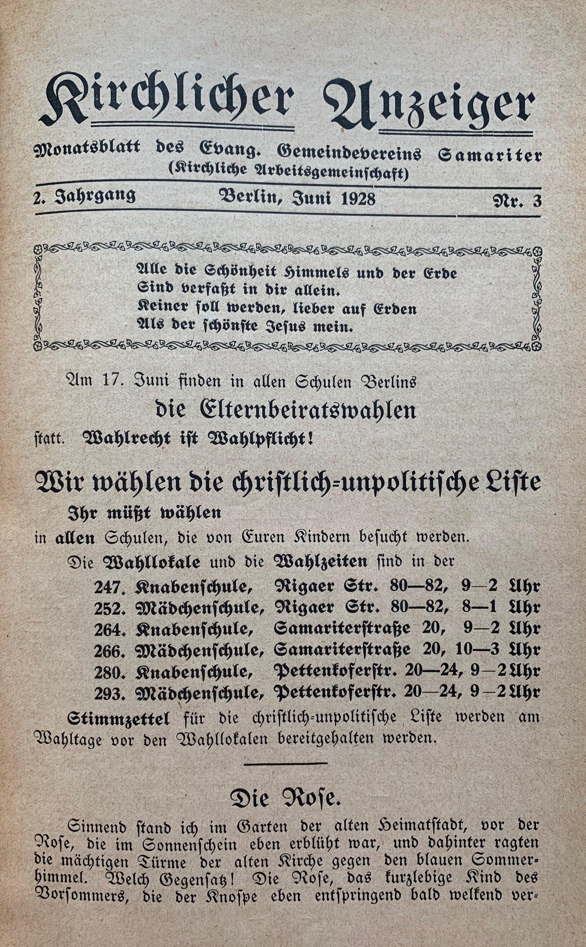 Kirchlicher Anzeiger Juni 1928